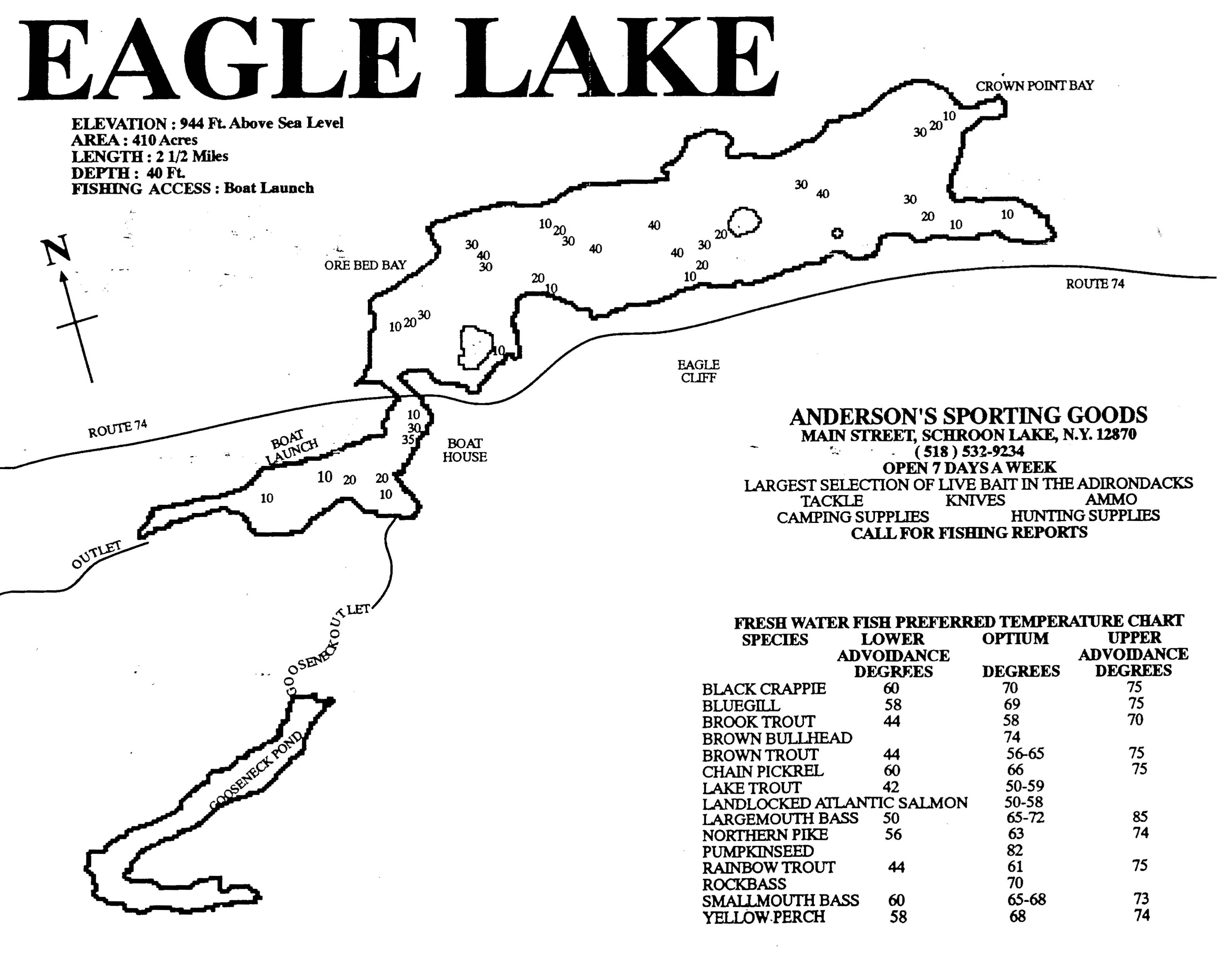 Map Eaglelake from anderson sporting goods
